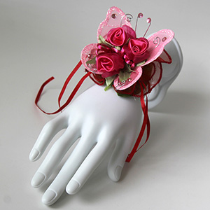 Triple Red Rose and Pink Butterfly Corsage Keepsake