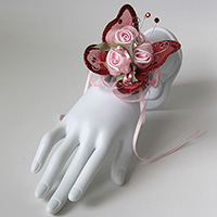 Triple Pink Rose and Red Butterfly Corsage Keepsake