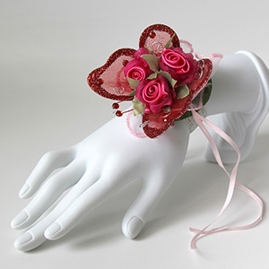 Triple Red Rose and Butterfly Corsage Keepsake