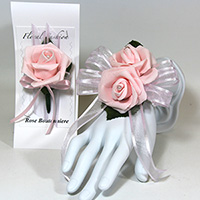 Double Pink Rose on Pink Ribbon Wrist Corsage & Boutonniere Combo