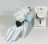Double White Rose on Blue Ribbon Wrist Corsage & Boutonniere Combo